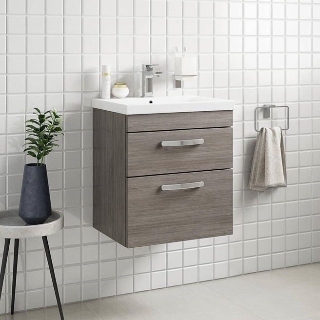 Emily 500mm Wall Mounted 2 Drawer Vanity Unit & Basin - Brown Grey Avola