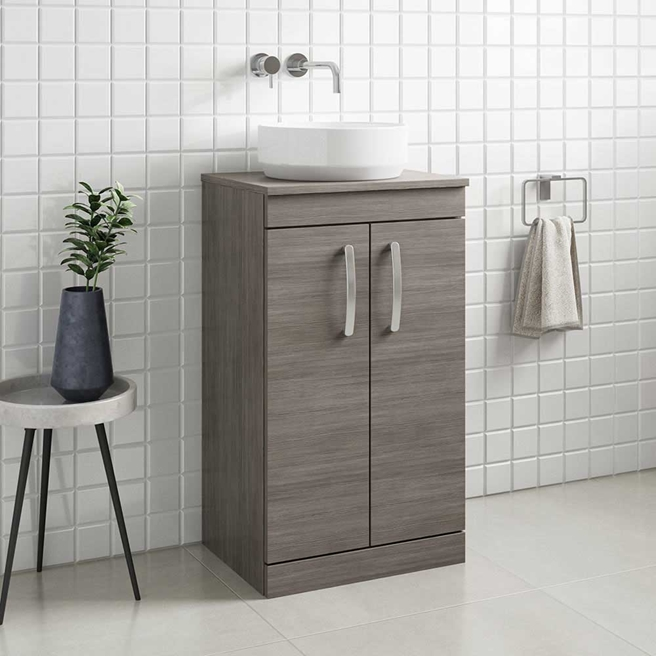 Emily 500mm Floorstanding Unit and Countertop - Brown Grey Avola