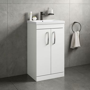 Emily 500mm Floorstanding Vanity Unit & Basin - Gloss White