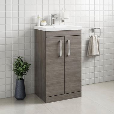Emily 500mm Floorstanding Vanity Unit & Basin - Grey Avola
