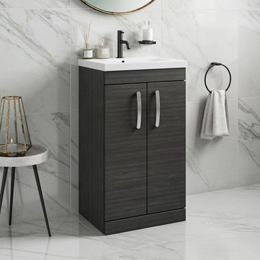 Emily 500mm Floorstanding Vanity Unit & Basin - Hacienda Black