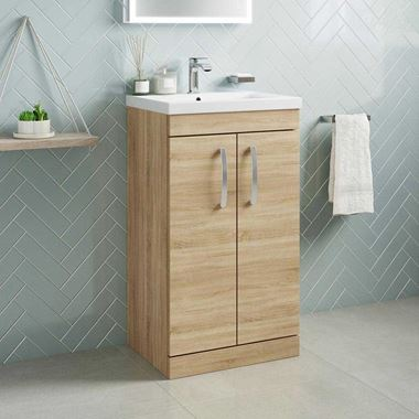 Emily 500mm Floorstanding Vanity Unit & Basin - Natural Oak