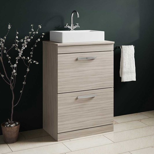 Emily 600mm Floorstanding 2 Drawer Unit and Countertop - Driftwood