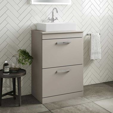 Emily 600mm Floorstanding 2 Drawer Unit in Matt Stone Grey and Alana 450mm Countertop Basin