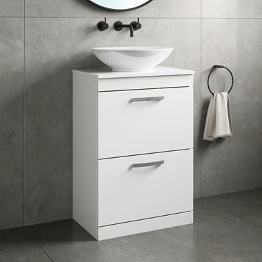 Emily 600mm Floorstanding 2 Drawer Unit and Countertop - Gloss White