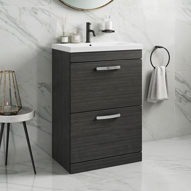 Emily 600mm Floorstanding 2 Drawer Vanity Unit & Basin - Hacienda Black