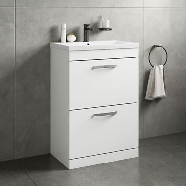 Emily 600mm Floorstanding 2 Drawer Vanity Unit & Basin - Gloss White