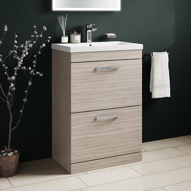Emily 600mm Floorstanding 2 Drawer Vanity Unit & Basin - Driftwood