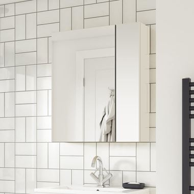 Emily 600mm Mirror Cabinet with Offset Door - Gloss White