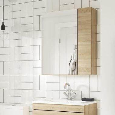 Emily 600mm Mirror Cabinet with Offset Door - Natural Oak