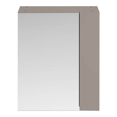 Emily 600mm Mirror Cabinet with Offset Door - Matt Stone Grey