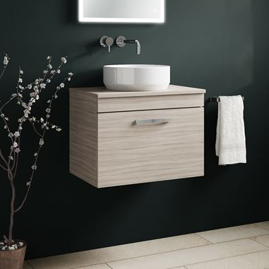 Emily 600mm Wall Mounted 1 Drawer Unit and Countertop - Driftwood
