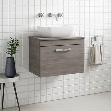 Emily 600mm Wall Mounted 1 Drawer Unit and Countertop - Grey Avola