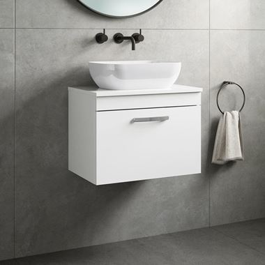Emily 600mm Wall Mounted 1 Drawer Unit and Countertop - Gloss White