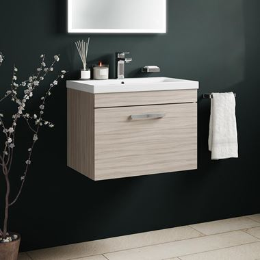Emily 600mm Wall Mounted 1 Drawer Vanity Unit & Basin - Driftwood