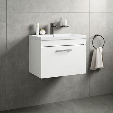 Emily 600mm Wall Mounted 1 Drawer Vanity Unit & Basin - Gloss White