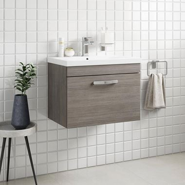 Emily 600mm Wall Mounted 1 Drawer Vanity Unit & Basin - Grey Avola