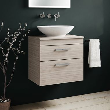 Emily 600mm Wall Mounted 2 Drawer Unit and Countertop - Driftwood