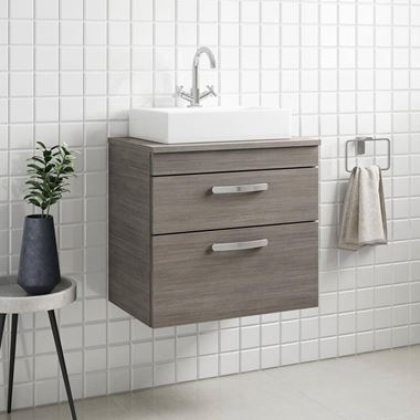 Emily 600mm Wall Mounted 2 Drawer Unit and Countertop - Grey Avola