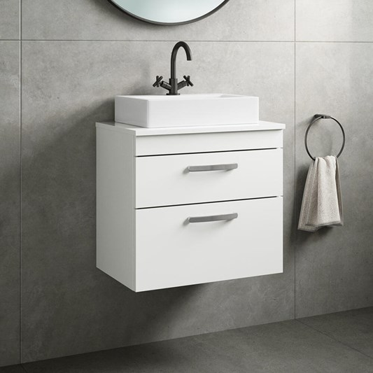 Emily 600mm Wall Mounted 2 Drawer Unit and Countertop - Gloss White