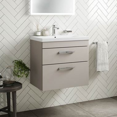 Emily 600mm Wall Mounted 2 Drawer Vanity Unit & Basin - Matt Stone Grey