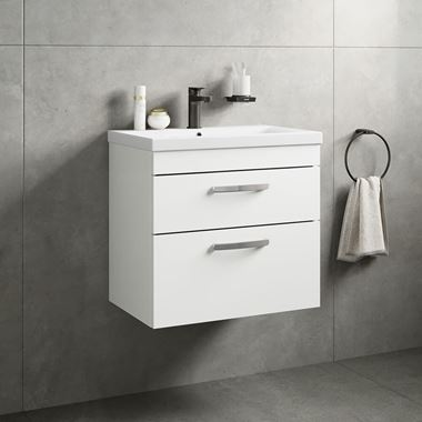Emily 600mm Wall Mounted 2 Drawer Vanity Unit & Basin - Gloss White