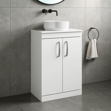 Emily 600mm Floorstanding Unit and Countertop - Gloss White
