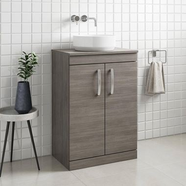 Emily 600mm Floorstanding Unit and Countertop - Grey Avola