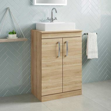 Emily 600mm Floorstanding Unit and Countertop - Natural Oak