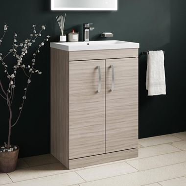 Emily 600mm Floorstanding Vanity Unit & Basin - Driftwood