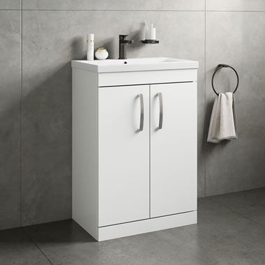 Emily 600mm Floorstanding Vanity Unit & Basin - Gloss White