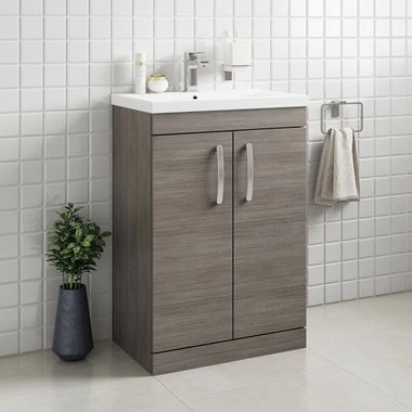 Emily 600mm Floorstanding Vanity Unit & Basin - Grey Avola