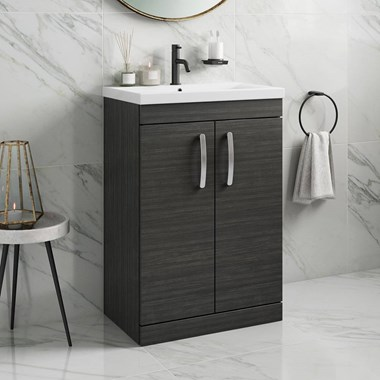 Emily 600mm Floorstanding Vanity Unit & Basin - Hacienda Black