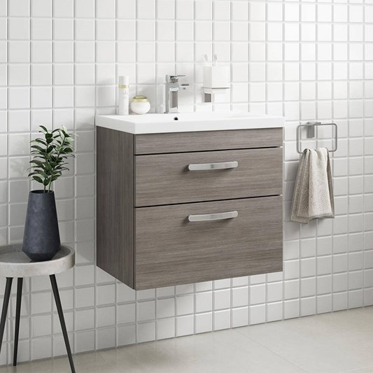 Emily 600mm Wall Mounted 2 Drawer Vanity Unit & Basin - Brown Grey Avola