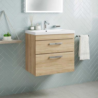 Emily 600mm Wall Mounted 2 Drawer Vanity Unit & Basin - Natural Oak