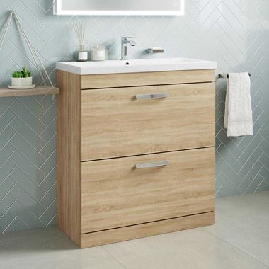 Emily 800mm Floorstanding 2 Drawer Vanity Unit & Basin - Natural Oak