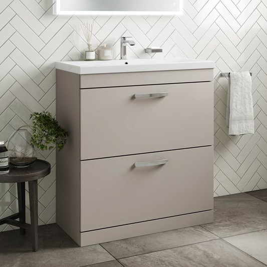 Emily 800mm Floorstanding 2 Drawer Vanity Unit & Basin - Matt Stone Grey