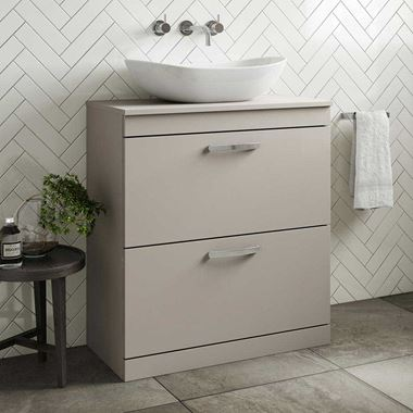 Emily 800mm Floorstanding 2 Drawer Unit and Countertop - Matt Stone Grey