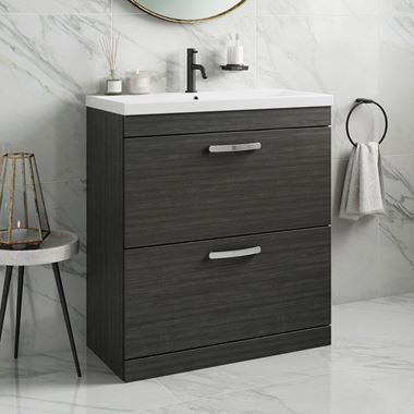 Emily 800mm Floorstanding 2 Drawer Vanity Unit & Basin - Hacienda Black