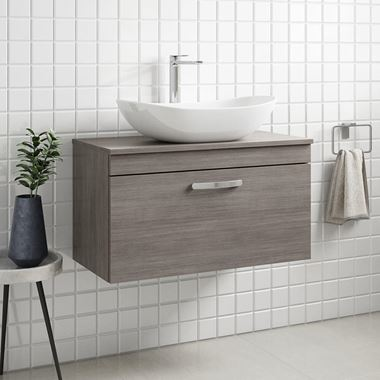 Emily 800mm Wall Mounted 1 Drawer Unit and Countertop - Grey Avola