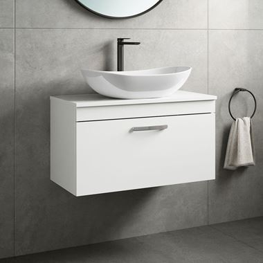 Emily 800mm Wall Mounted 1 Drawer Unit and Countertop - Gloss White