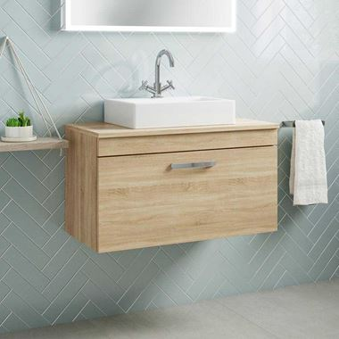 Emily 800mm Wall Mounted 1 Drawer Unit and Countertop - Natural Oak