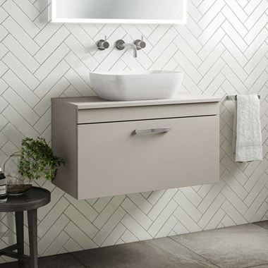 Emily 800mm Wall Mounted 1 Drawer Unit and Countertop - Matt Stone Grey