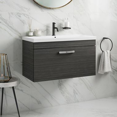 Emily 800mm Wall Mounted 1 Drawer Vanity Unit & Basin - Hacienda Black
