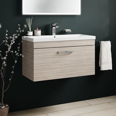 Emily 800mm Wall Mounted 1 Drawer Vanity Unit & Basin - Driftwood