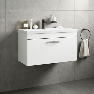 Emily 800mm Wall Mounted 1 Drawer Vanity Unit & Basin - Gloss White