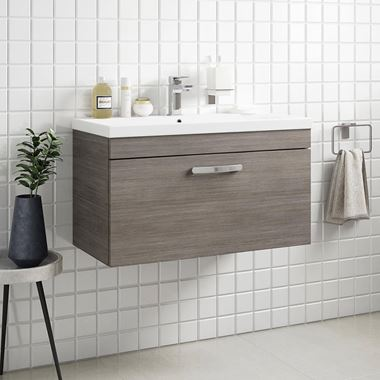 Emily 800mm Wall Mounted 1 Drawer Vanity Unit & Basin - Grey Avola