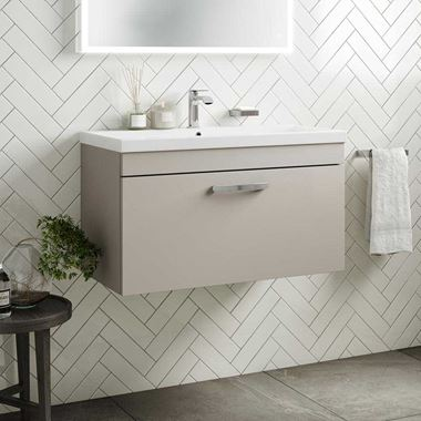 Emily 800mm Wall Mounted 1 Drawer Vanity Unit & Basin - Matt Stone Grey