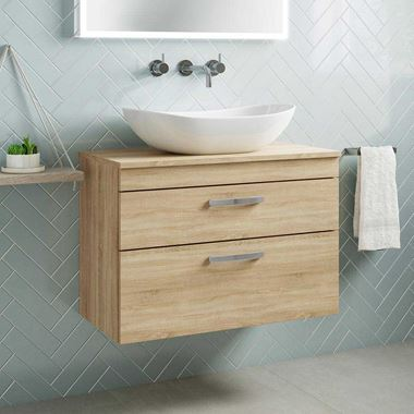 Emily 800mm Wall Mounted 2 Drawer Unit and Countertop - Natural Oak