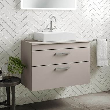 Emily 800mm Wall Mounted 2 Drawer Unit and Countertop - Matt Stone Grey